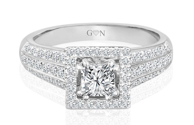 Ladies Halo Design Engagement Ring - R1034 - GN Designer Jewellers
