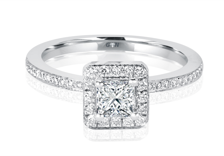 Ladies Halo Princess Cut Design Engagement Ring - R1071 - GN Designer Jewellers
