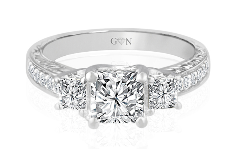 Ladies Three Stone Design Engagement Ring - R538 - GN Designer Jewellers