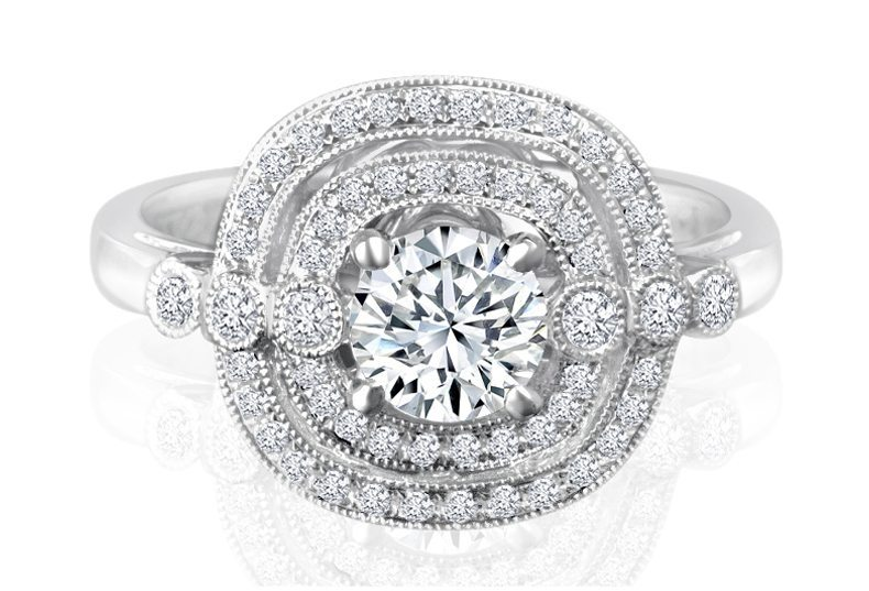 Ladies Halo Design Engagement Ring - R622 - GN Designer Jewellers
