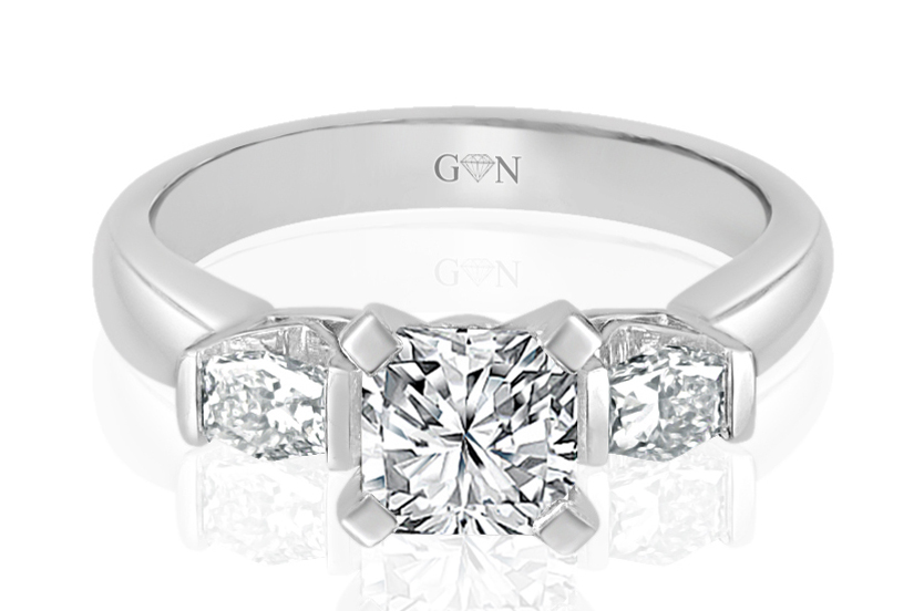 Three Stone Design Engagement Ring - R686 - GN Designer Jewellers