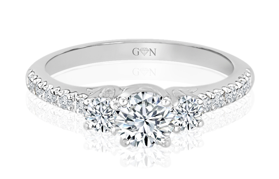 Three Stone Design Engagement Ring - R691 - GN Designer Jewellers