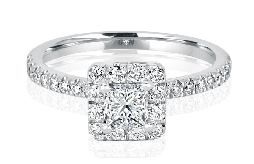 Ladies Halo Design Engagement Ring - R710 - GN Designer Jewellers
