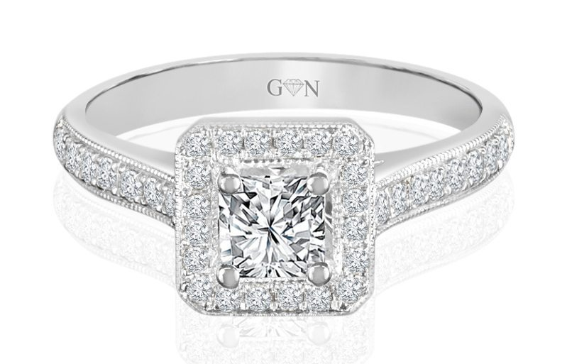 Ladies Halo Design Engagement Ring - R728 - GN Designer Jewellers