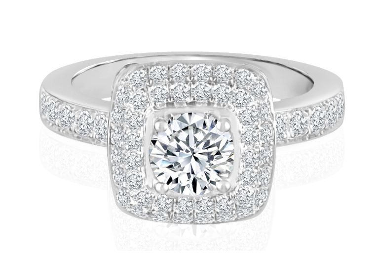 Ladies Halo Design Engagement Ring - R737 - GN Designer Jewellers