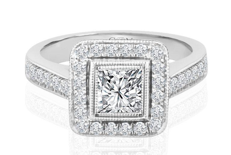 Ladies Halo Design Engagement Ring - R756 - GN Designer Jewellers