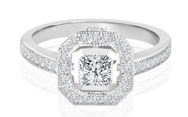 Ladies Halo Design Engagement Ring - R814 - GN Designer Jewellers