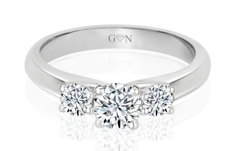 Three Stone Design Engagement Ring - R838 - GN Designer Jewellers