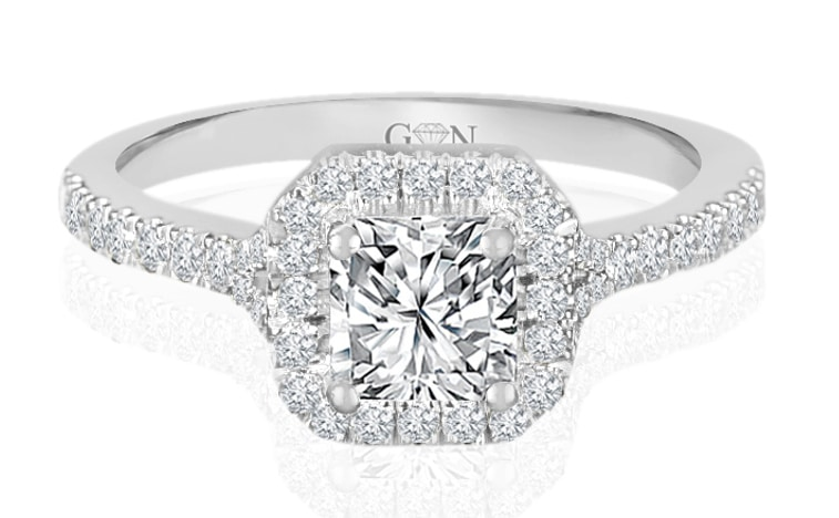 Ladies Halo Design Engagement Ring - R841 - GN Designer Jewellers