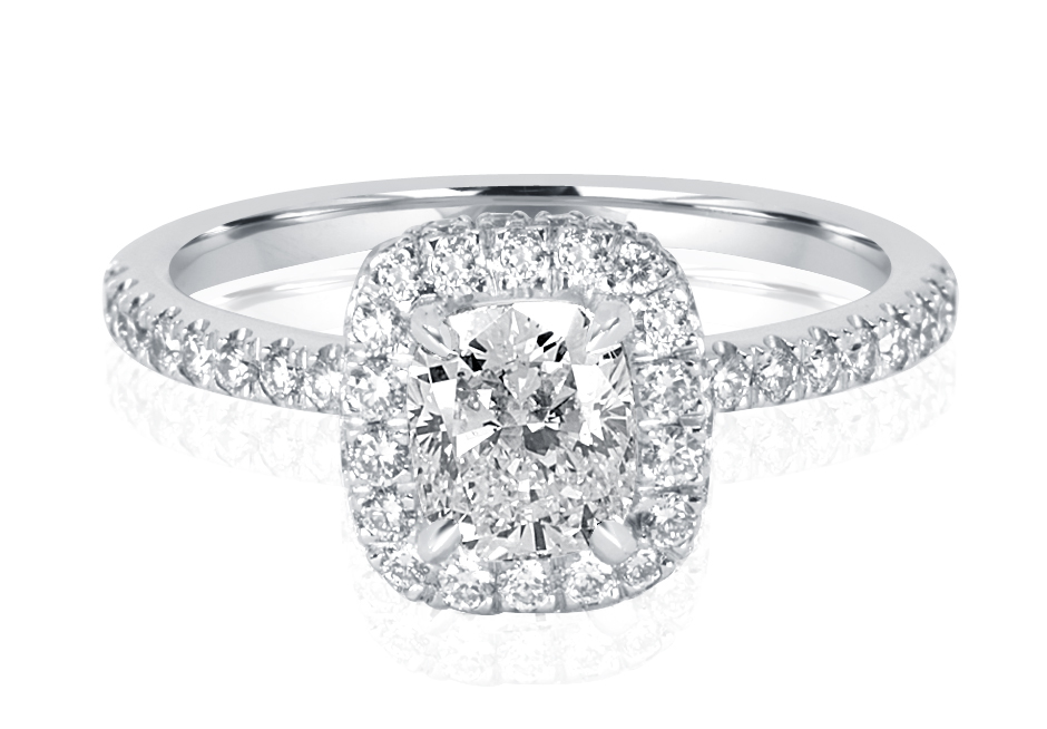 Ladies Halo Design Engagement Ring - R1080 - GN Designer Jewellers