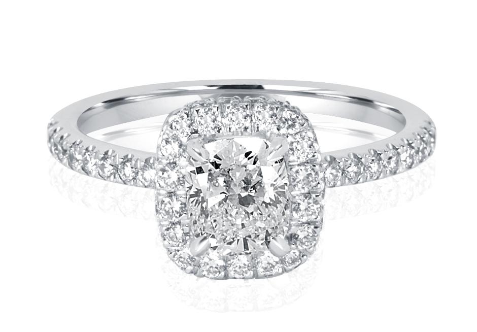 Ladies Halo Design Engagement Ring - R1080 - GN Designer Jewellers