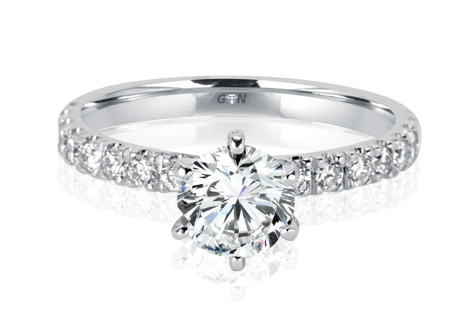 Ladies Solitaire Multi Band Engagement Ring - R1099 - GN Designer Jewellers