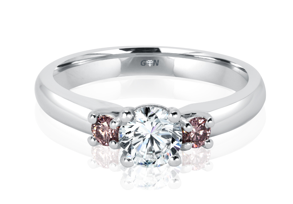 Ladies Three Stone Pink Diamond Engagement Ring - R1166 - GN Designer Jewellers