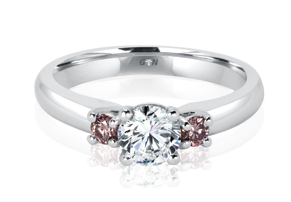 Ladies Three Stone Pink Diamond Engagement Ring - R1166 - GN Designer Jewellers