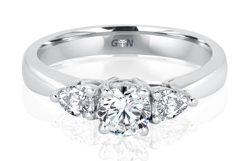 Ladies Three Stone Design Engagement Ring - R281 - GN Designer Jewellers
