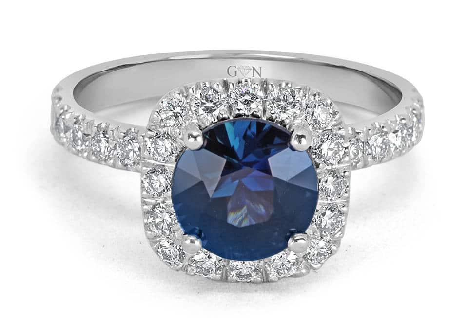 Ladies Halo Design Coloured Stone Engagement Ring - R14298 - GN Designer Jewellers