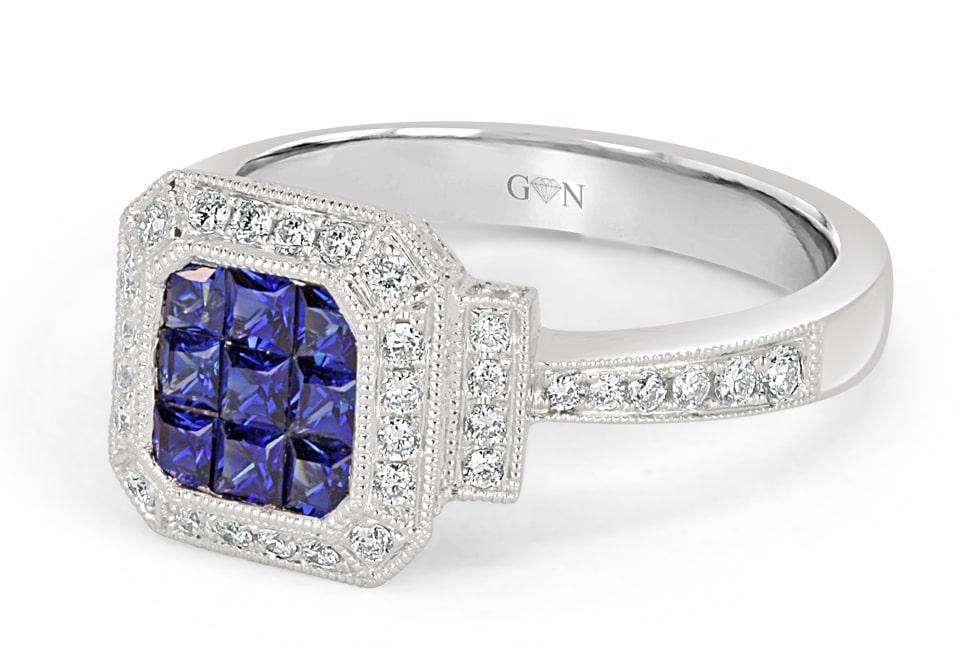 Ladies Halo Design Coloured Stone Engagement Ring - R526 - GN Designer Jewellers