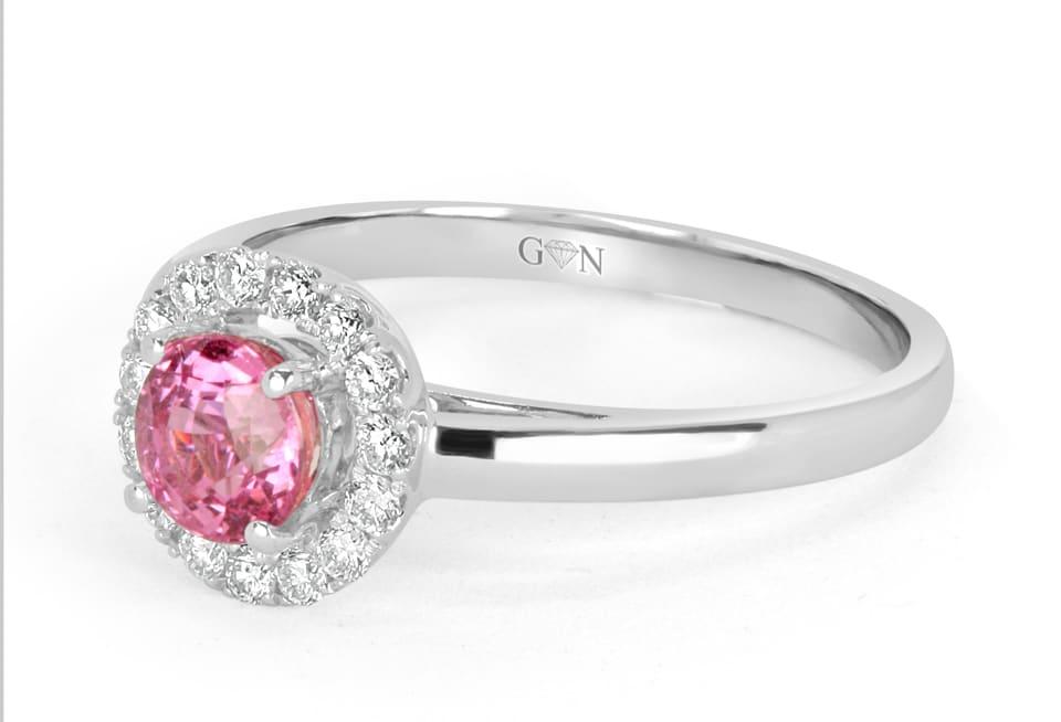 Ladies Halo Design Coloured Stone Engagement Ring - R695 - GN Designer Jewellers
