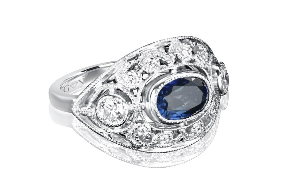 Ladies Coloured Stone Design Engagement Ring – R857 - GN Designer Jewellers